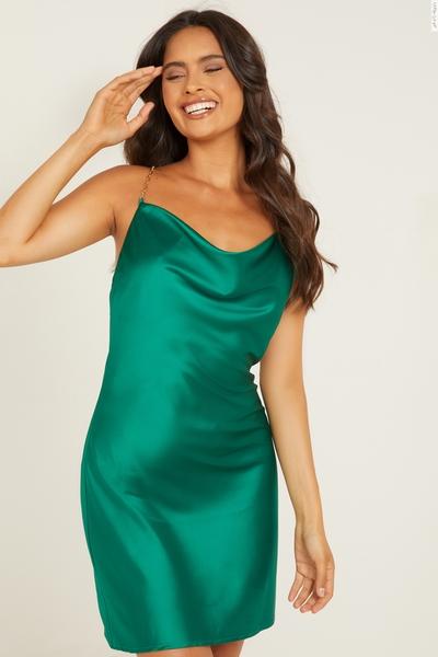 Green Satin Cowl Neck Dress